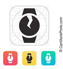 Broken round smart watch icon. Vector illustration.