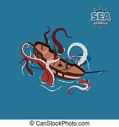 Broken sailer with kraken on blue background