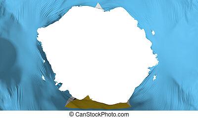Broken Saint Lucia flag, white background, 3d rendering