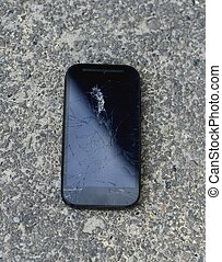 broken screen on a mobile phone