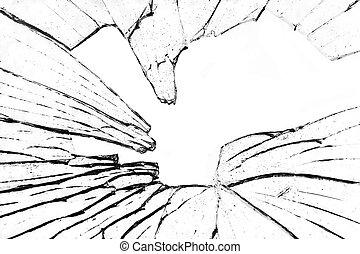 broken shattered glass on white