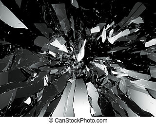 Broken shattered glass pieces isolated on black