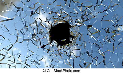 Broken shattered glass pieces isolated over black