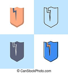 Broken shield icon set in flat and line styles