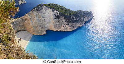 Broken ship at Shipwrech bay . Navagio beach, Zakinthos, Greece
