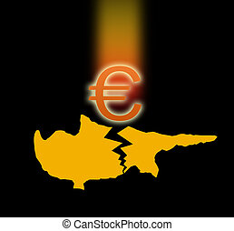 silhouette of Cyprus and the falling Euro sign. - Broken...