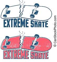 Broken skateboard emblem in vintage print style