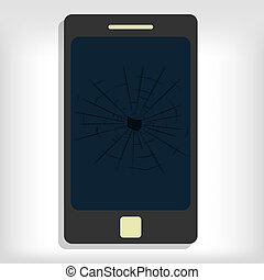 Broken smartphone monitor. Gray background. Editable.