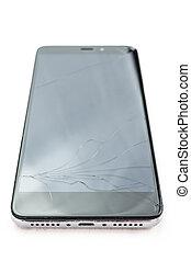 broken smartphone on white background