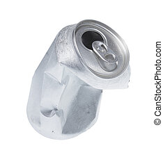 Broken soda can isolated on white background.