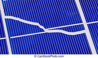 Broken solar panel cell parts
