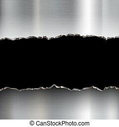 Broken stainless steel plate.