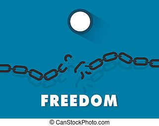 freedom - broken steel chain freedom concept