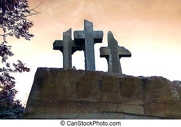 Broken stone gravestone cross sky background