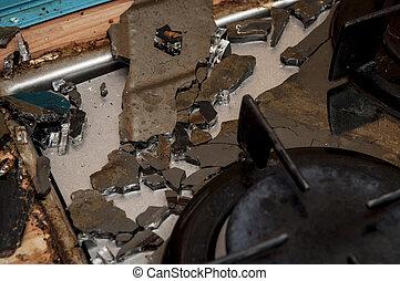broken stove in the kitchen
