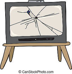 Broken Television - Modern television with bullet hole and...