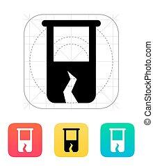 Broken test tube icon. Vector illustration. - Broken test...