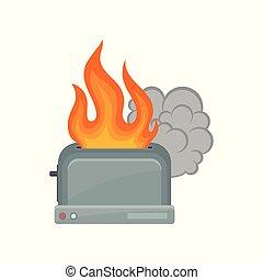 Broken toaster, damaged home appliance vector Illustration on a white background