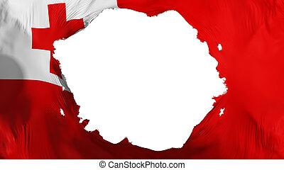 Broken Tonga flag, white background, 3d rendering