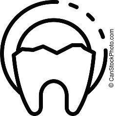 Broken tooth icon, outline style