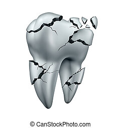 Broken Tooth - Broken tooth dental symbol and toothache...
