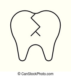 broken tooth, simple outline icon dental care set