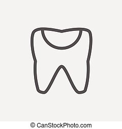 Broken tooth thin line icon