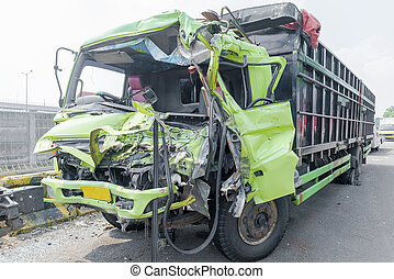 Broken truck because of the crash accident
