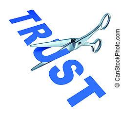 Broken Trust - Broken trust symbol with a pair of scissors...