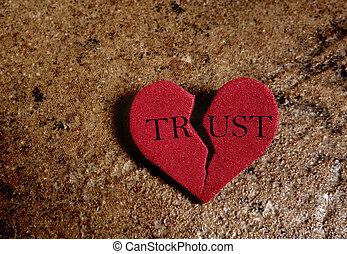 Broken trust heart - Broken red Trust heart, on textured ...