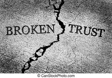Broken Trust Illustrated with Cracked Concrete