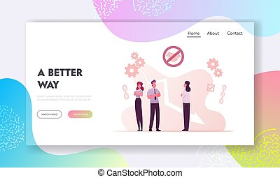 Broken Trust Landing Page Template. Business Characters with...