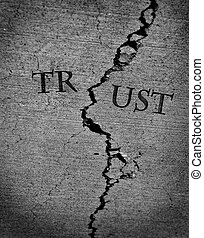 Broken Trust Represented by Cracked Cement