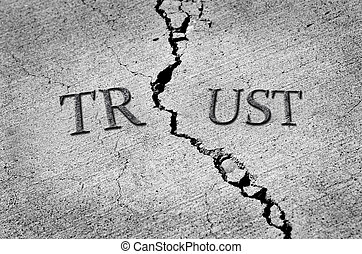 Broken Trust - Cracked cement symbolizing broken trust...