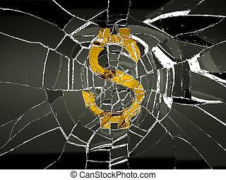 Broken US dollar symbol and shattered glass