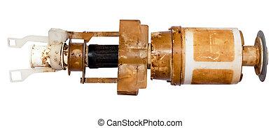broken used flush valve of toilet cistern isolated on white...