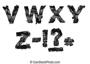 Broken V-Z font letters