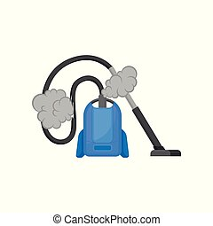 Broken vacuum cleaner, damaged home appliance vector Illustration on a white background