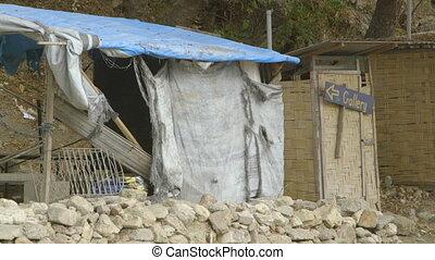 Broken village shop in Papua new guinea - A close up shot of...