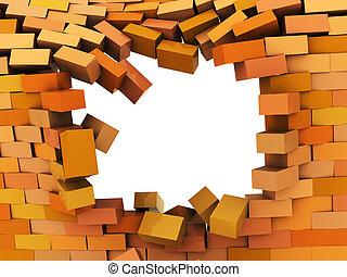 broken wall - 3d illustration of broken hole in brick wall