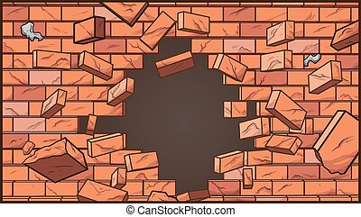 broken wall - Broken brick wall. Vector clip art ...