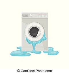 Broken washing machine, damaged home appliance vector Illustration on a white background