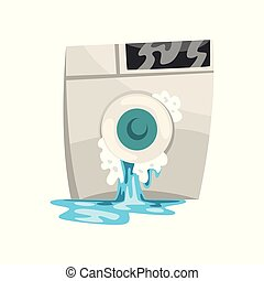 Broken washing machine with leaking water, damaged home appliance cartoon vector Illustration on a white background