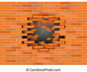Broken white brick wall with flying bricks