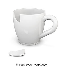 Broken white cup isolated on white background. 3d rendering