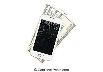 Broken white smartphone with many money in the background