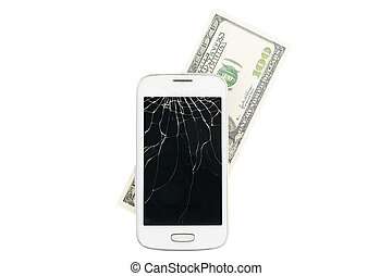 Broken white smartphone with money in the background