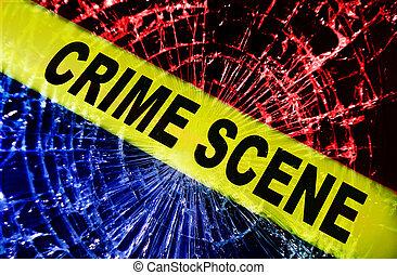 broken window crime scene - Broken window with yellow Crime...