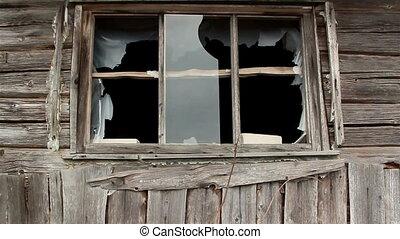 Broken window glass from a house
