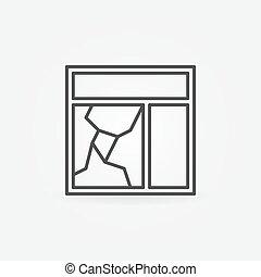 Broken window glass pane icon